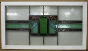 Old English Leaded Stained Glass Window Transom Geometric Roses 33 5 X 18 5