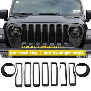9x Headlight Trim Front Grill Inserts Grille Cover Set For Jeep Wrangler Jl 2018