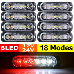 8pc Red white 6led Car Truck Emergency Warning Hazard Flash Strobe Light Us