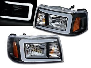 Pair Black 1pc Style Headlights W Led C Bar For 2001 2011 Ford Ranger