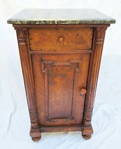 Antique Marble Top Night Stand End Table With Column Accents La Area