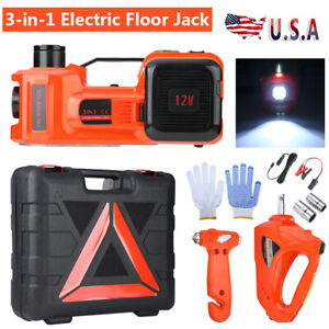 5ton 12v 3 In 1 Auto Car Electric Hydraulic Floor Jack Lift Set W Impact Wrench