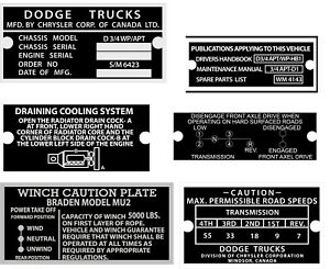 Dodge Wc51 Wc52 3 4 Ton Canada Data Plates Id Tags Wc 53 54 55 56 57 58 Canadian