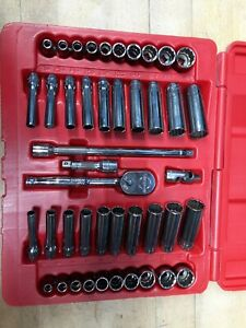 Snap On 43 Piece 12pt 1 4 Socket Set Metric Sae With Fine Tooth Ratchet144tmpb