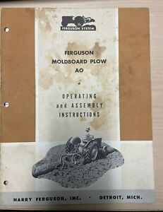 Ferguson Moldboard Plow Ao Operating Assembly Instruction Manual Attachment