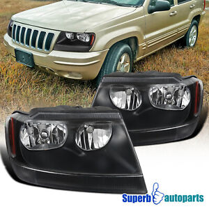 For 1999 2004 99 04 Jeep Grand Cherokee Headlights Black W Corner Signal Lamps
