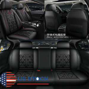 Black Red Pu Leather Car Seat Covers Full Set Universal For 5 Seats Car Suv Usa