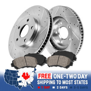 Front Drill Slot Brake Rotors Ceramic Pads For 2011 2014 2015 Chevy Cruze Sonic