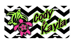 Personalized Monogrammed License Plate Auto Car Tag Turtles Pink Lime Chevron