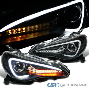 For 12 17 Scion Fr S Toyota 86 Matte Black Led Sequential Projector Headlights