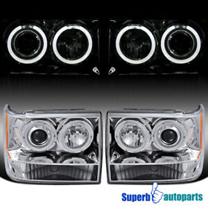 For 1993 1996 93 96 Jeep Grand Cherokee Dual Halo Projector Headlights Pair