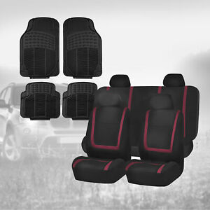 Black Burgundy Car Seat Covers With Black Floor Mats Combo For Auto Car Suv