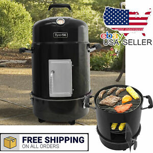 Compact Charcoal Smoker And Grill 2 Grates Outdoor Cooking Bbq Garden 2 In 1