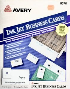 Avery Ink Jet Blank Business Cards 2 X 3 1 2 250 Pack Ivory 8376 Usa New