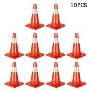 18 Traffic Safety Cones Reflective Collars Overlap Parking Construction 10pcs