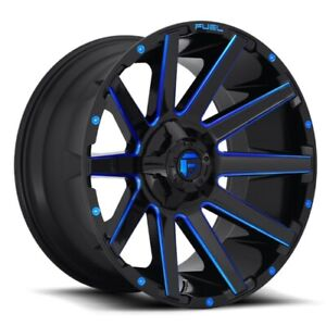 Set Of 4 Fuel Wheels D644 Contra 20x9 6x135 139 7 2 Gloss Milled Blue
