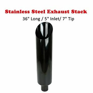 7 Tip Gloss Black Miter Cut Diesel Smoker Exhaust Stack 36 Long 5 Inlet