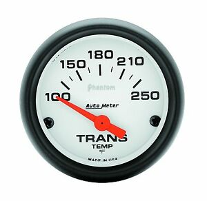 Auto Meter Phantom Electric Transmission Temperature 100 250 Deg F 52mm Gauge