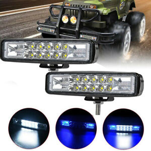 2x Led Work Lights Blue White Blue Driving Strip Bar Strobe Flash Suv Offroad Us