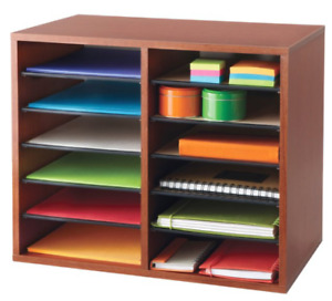 Safco Adjustable 12 slot Wood Literature Organizer Cherry New