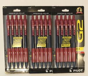Lot Of 3 5 Pack Pilot G2 Rollerball Pen Red Gel Ink 0 7 Mm Fine Retractable 15