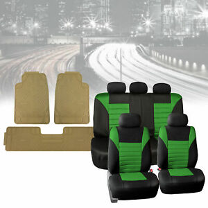 Mesh Car Seat Covers In Green With Beige Floor Mats Heavy Duty Full Set