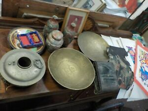 20pc Antique Chinese Vases Satsuma Covered Jar Plates Paintings Bronze Bowls