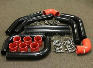 Black 3 Diy Turbo Intercooler Piping Kit 8pc Red Silicone Couplers t clamps