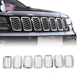 Grille Insert Mesh Grill Cover Trim Kit For 2017 19 Jeep Grand Cherokee Chrome M