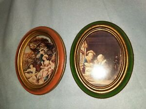 Vintage 2 Italian Prints In Oval Frames Made In Italy