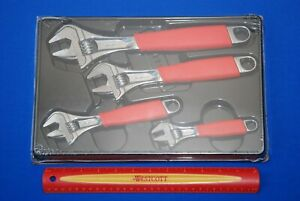 New Snap on 4 Piece Red Soft Grip Flank Drive Plus Adjustable Wrench Set