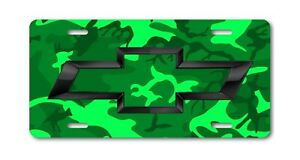 Chevy Art Chevrolet Black Bow Tie On Green Camo License Plate Aluminum Tag