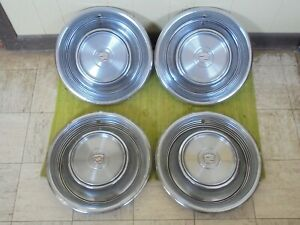 68 69 Cadillac Hub Caps 15 Set Of 4 Wheel Cover 1968 1969 Caddy Hubcaps