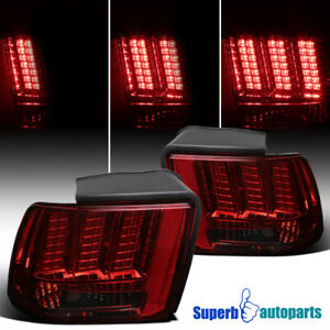 For 1999 2004 Ford Mustang Sequential Led Tail Lights Lamps Smoke Pair
