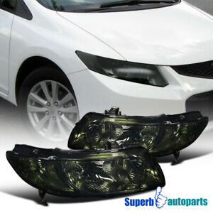 For 2006 2011 Honda Civic Coupe 2dr Headlights Smoke Pair Replacement