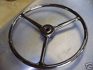 Black Steering Wheel 17 Early Fits Willys Jeep Cj2a Cj3a Slat Grill Gpw