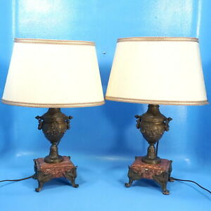 2 Antique French Bronze Marble Lamps Urn Vase Arrow Rose Torch Horn Lyre Pipes