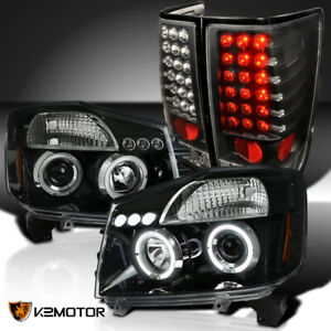Fits 2004 2015 Nissan Titan Jet Black Halo Projector Headlights Led Tail Lamps