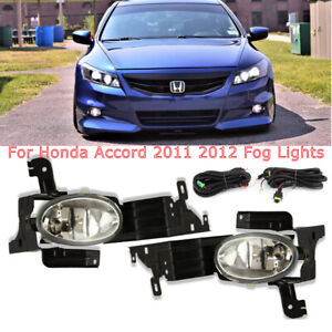 For 2011 2012 Honda Accord Sedan Clear Fog Lights Bumper Driving Lamps Switch