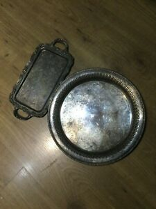 Round Silver Plated Tray Xantique X Vintage X Hand Detailed Small Handle Tray