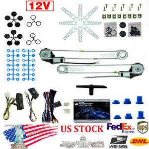 Universal Electric 12v Power Window Kit High Torque Motor Drives For 2 Doors Car