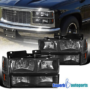 For 1994 1998 Gmc C10 C K Sierra Headlights Bumper Corner Lights Black