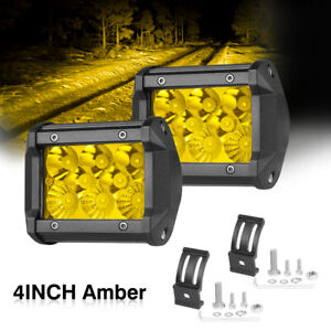 2x Amber Led Fog Driving Lights Cube Pods Spot Flood Combo 3 200w Offroad Truck