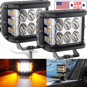 2x Dual Color Ditch Light Pods Side Strobe Amber For Snow Plow Warning Lights