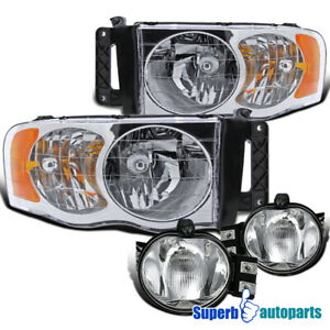 For 2002 2005 Dodge Ram Crystal Clear Headlights Bumper Fog Lamps Replacement