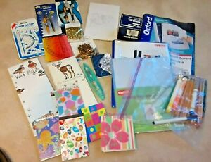 Huge 5 Lb Lot Of Assorted Office School Supplies Notepads Compass Vintage