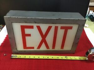Vintage Exit Sign Metal Casing With Glass Panel Single Sided Missing Cord