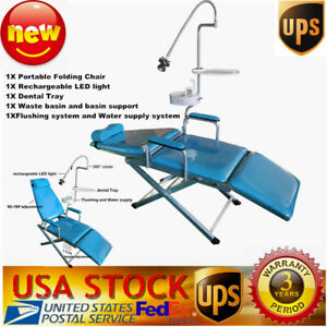 Portable Dental Folding Mobile Chair Led Light Tray Basin Water Flushing System