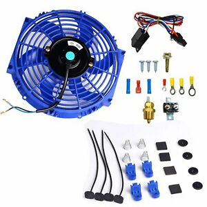 12 Electric Radiator Cooling Fan 3 8 Probe Ground Thermostat Switch Kit Blue