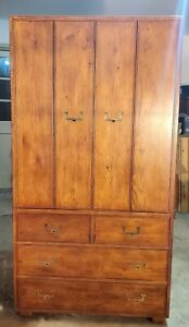 Henredon Artefacts Campaign Hollywood Regency Mid Century Wardrobe Armoire